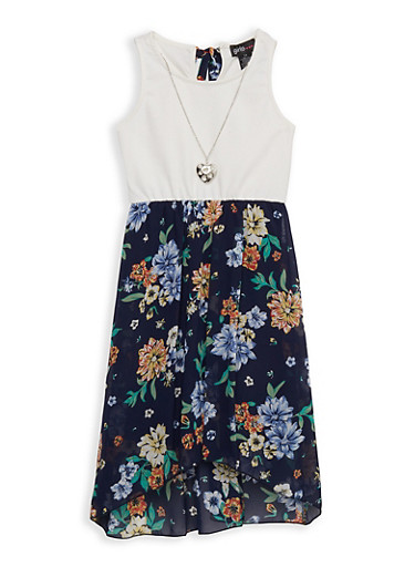 Girls 7-16 Solid and Floral Skater Dress,NAVY,large