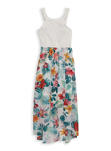 Girls 7-16 Floral High Low Dress,IVORY,large