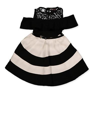 Girls 7-16 Striped Cold Shoulder Skater Dress,BLACK/WHITE,large