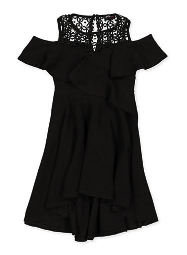 Girls 7-16 Ruffled Crochet Trim Skater Dress,BLACK,large