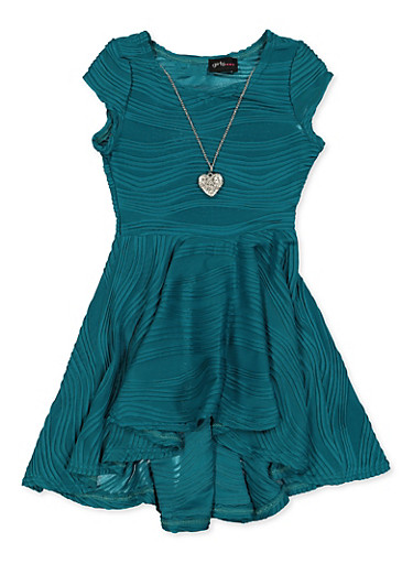 Girls 7-16 Wavy Textured Knit Skater Dress,TEAL,large