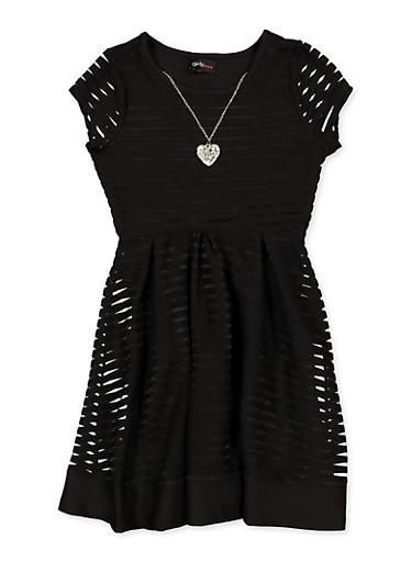 Girls 7-16 Shadow Stripe Pleated Skater Dress with Necklace,BLACK,large