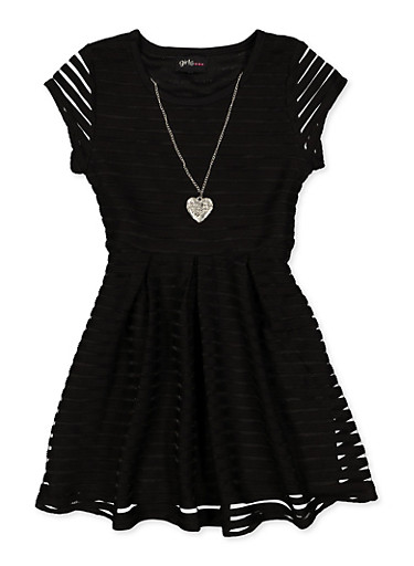 Girls 7-16 Solid Shadow Stripe Skater Dress,BLACK,large