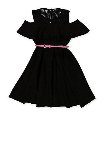 Girls 7-16 Textured Knit Pleated Skater Dress,BLACK,large