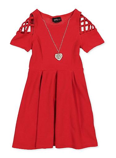 Girls 7-16 Caged Sleeve Skater Dress,RED,large