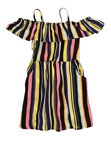 Girls Striped Cold Shoulder Dress,BLACK,large