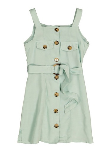 Girls Sleeveless Button Front Dress,TURQUOISE,large