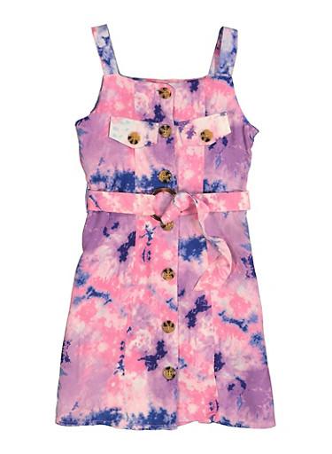 Girls Tie Dye Sleeveless Button Front Dress,PURPLE,large