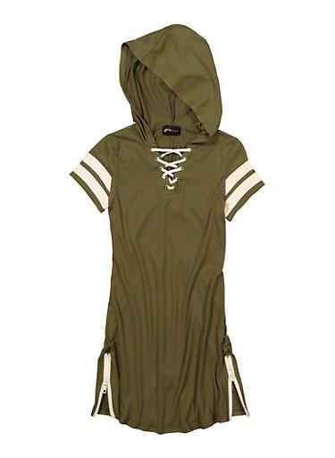 Girls Lace Up Varsity Striped Hooded Dress,OLIVE,large