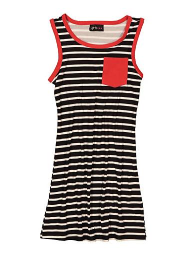 Girls Striped Contrast Trim Tank Dress,BLACK/WHITE,large