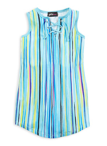 Girls Lace Up Vertical Striped Tank Dress,TURQUOISE,large