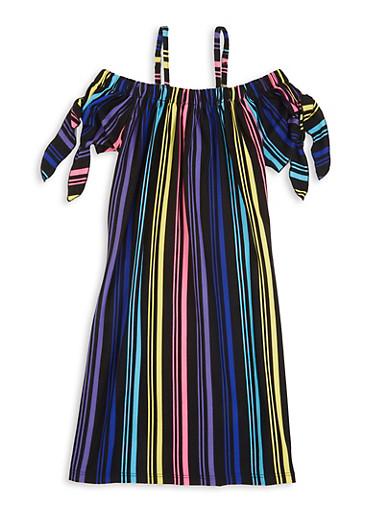 Girls Striped Tie Sleeve Cold Shoulder Dress,BLACK,large