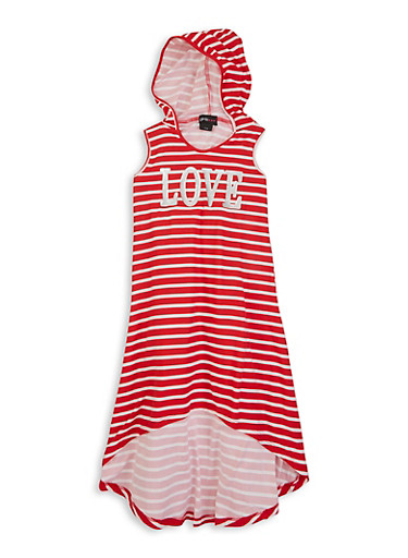 Girls Graphic Striped Hooded Dress,RED,large