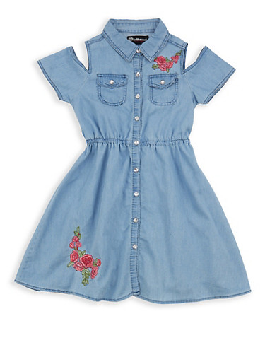 Girls 7-16 Cold Shoulder Denim Dress,LIGHT WASH,large