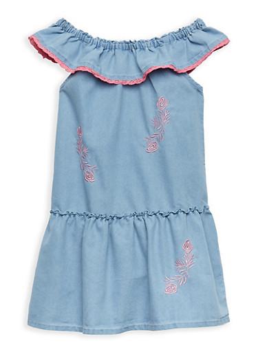 Girls 7-16 Embroidered Denim Off the Shoulder Shift Dress,LIGHT WASH,large