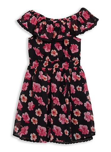 Girls 7-16 Smocked Floral Off the Shoulder Dress | 1615054730030,BLACK,large