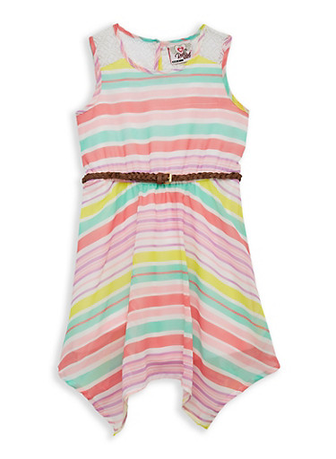 Girls 7-16 Crochet Insert Striped Skater Dress,PINK,large
