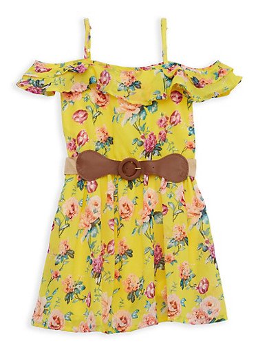 Girls 7-16 Floral Off the Shoulder Belted Skater Dress,YELLOW,large