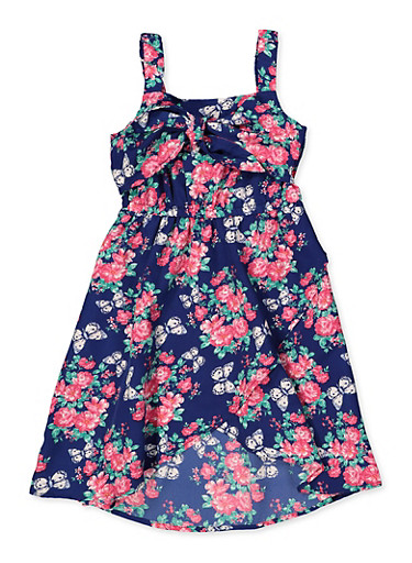 Girls 7-16 Floral Butterfly Tie Front Dress,NAVY,large