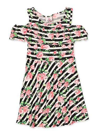 Girls 7-16 Striped Floral Cold Shoulder Skater Dress,PINK,large