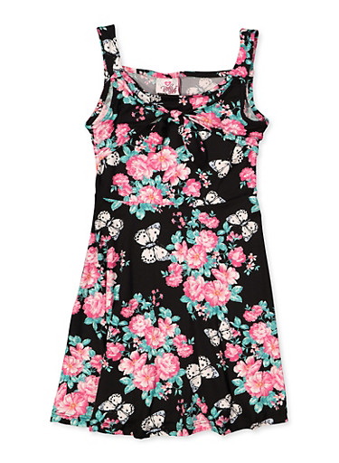 Girls 7-16 Butterfly Floral Skater Dress,BLACK,large