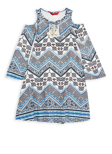 Girls 7-16 Printed Cold Shoulder Dress with Tassels,BABY BLUE,large