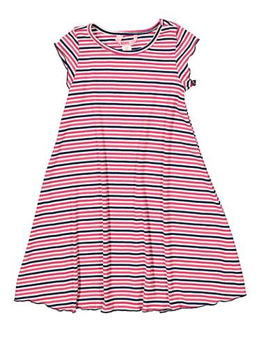 Girls 7-16 Striped Rib Knit Dress,RYL BLUE,large