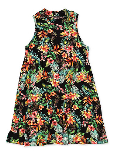 Girls 7-16 Sleeveless Tropical Floral Dress,BLACK,large