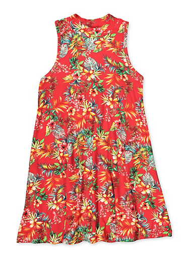 Girls 7-16 Tropical Floral Mock Neck Dress,RED,large