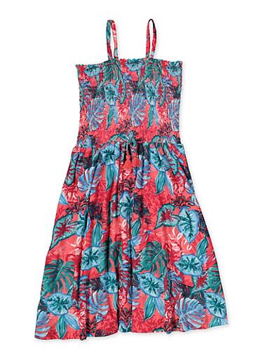 Girls 7-16 Tropical Print Smocked Skater Dress,FUCHSIA,large