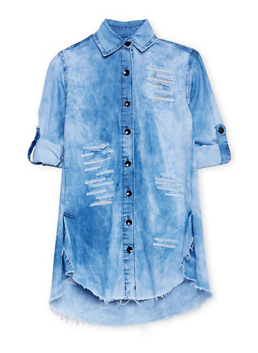 Girls 7-16 Patch and Repair Button Front Denim Dress,LIGHT WASH,large