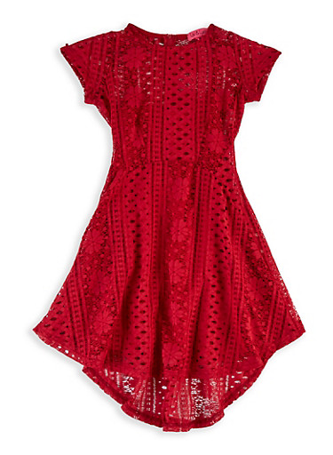 Girls 7-16 Lace Skater Dress,RED,large