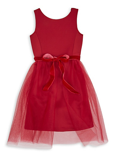 Girls 7-16 Red Tulle Tie Waist Dress,RED,large