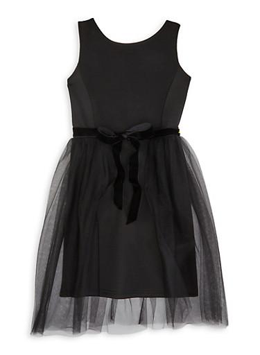 Girls 7-16 Black Tulle Tie Waist Dress,BLACK,large