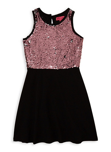 Girls 7-16 Reversible Sequin Skater Dress,BLACK,large