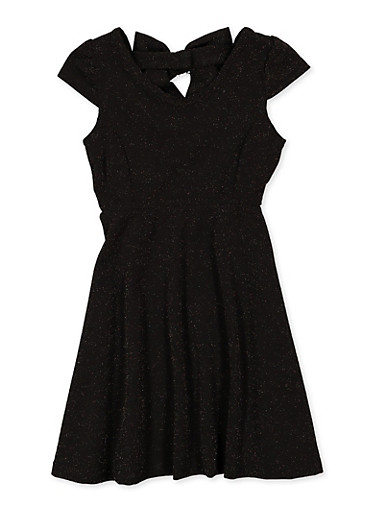 Girls 7-16 Lurex Bow Detail Skater Dress,BLACK,large