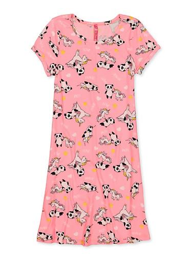 Girls 7-16 Panda Unicorn Soft Knit Dress,NEON PINK,large
