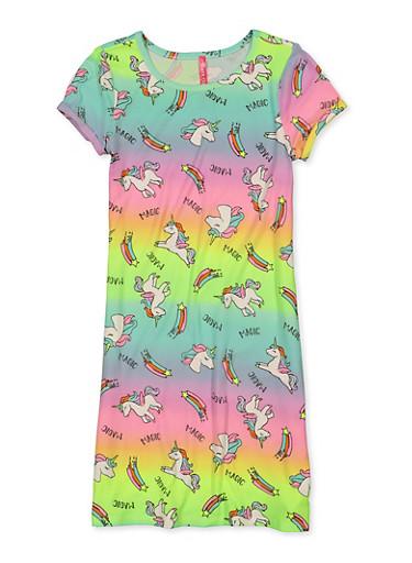 Girls 7-16 Unicorn Print T Shirt Dress,MULTI COLOR,large