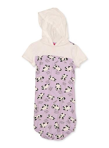 Girls 7-16 Panda Print Hooded Dress,LAVENDER,large