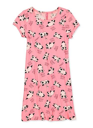 Girls 7-16 Panda Print T Shirt Dress,NEON PINK,large