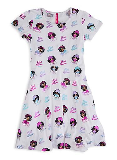 Girls Foil Print Girl Boss Skater Dress,IVORY,large