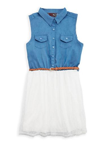 Girls 7-16 Belted Denim Tulle Skater Dress,WHITE,large