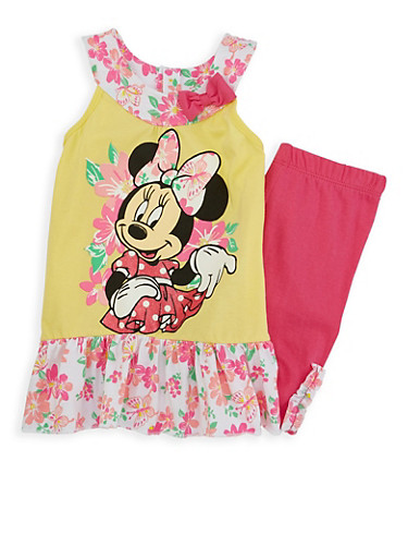 Girls 4-6x Minnie Mouse Graphic Tank Top with Shorts,YELLOW,large