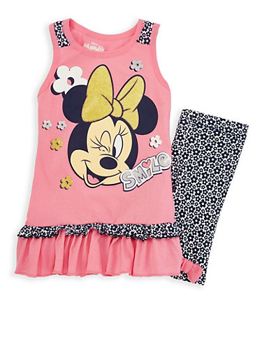 Girls 4-6x Minnie Mouse Tunic Top and Bike Shorts,PINK,large