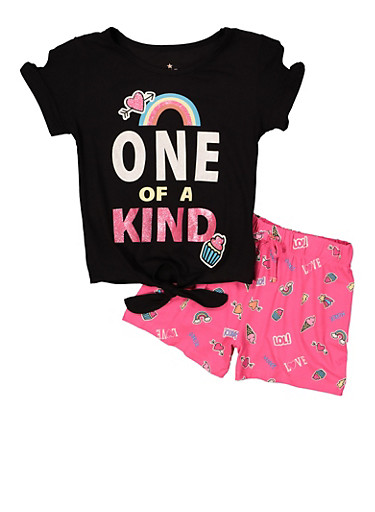 Girls 4-6x Glitter Graphic Tee and Shorts Set,BLACK,large