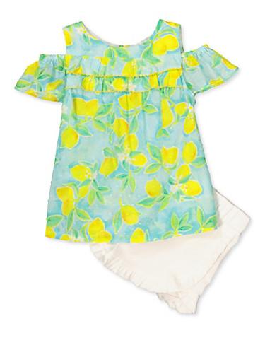 Girls 4-6x Lemon Print Cold Shoulder Top and Shorts,BLUE,large