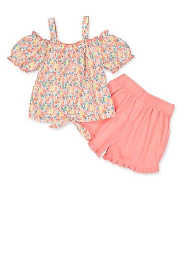 Girls 4-6x Floral Cold Shoulder Top and Shorts Set,PINK,large