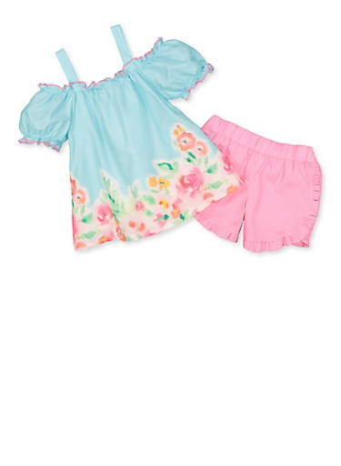 Girls 4-6x Floral Tie Front Top and Shorts,MINT,large