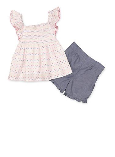 Girls 4-6x Polka Dot Smocked Top and Chambray Shorts Set,WHITE,large