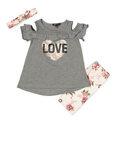 Girls 4-6x Cold Shoulder Top with Shorts and Headband,HEATHER,large
